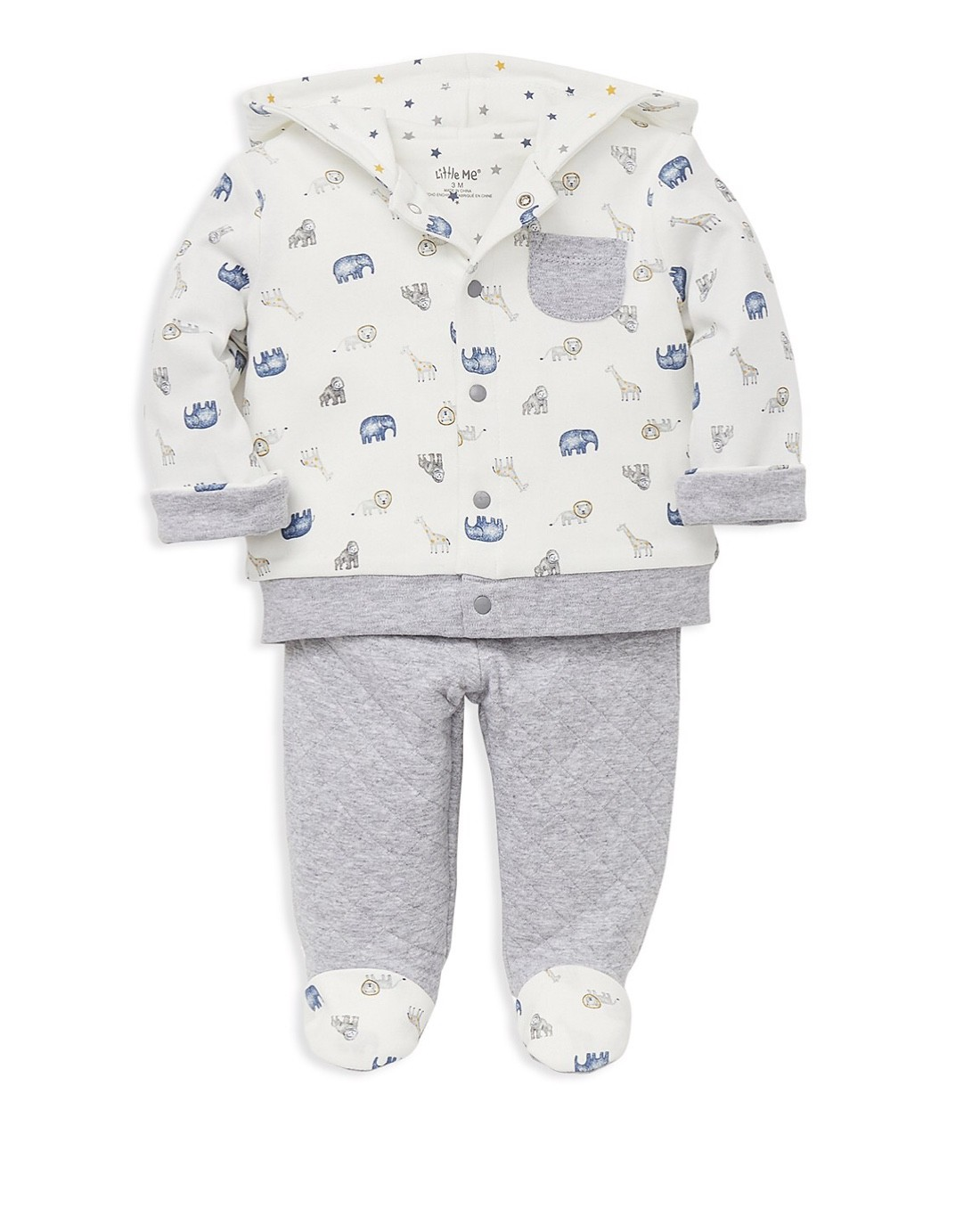 LITTLE ME JAUNTY JUNGLE 2 PC SET HEATHER GRAY