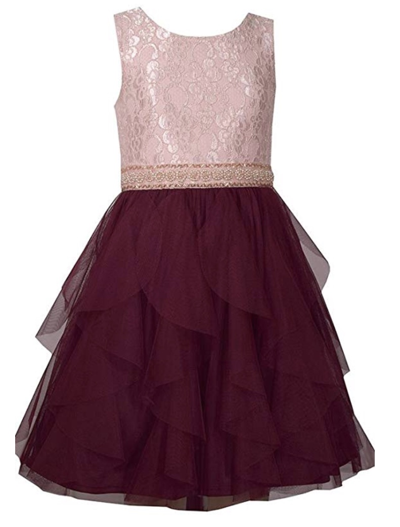 BONNIE JEAN PINK LACE BODICE WITH BURGUNDY CHIFFON LAYERED BOTTOM DRESS