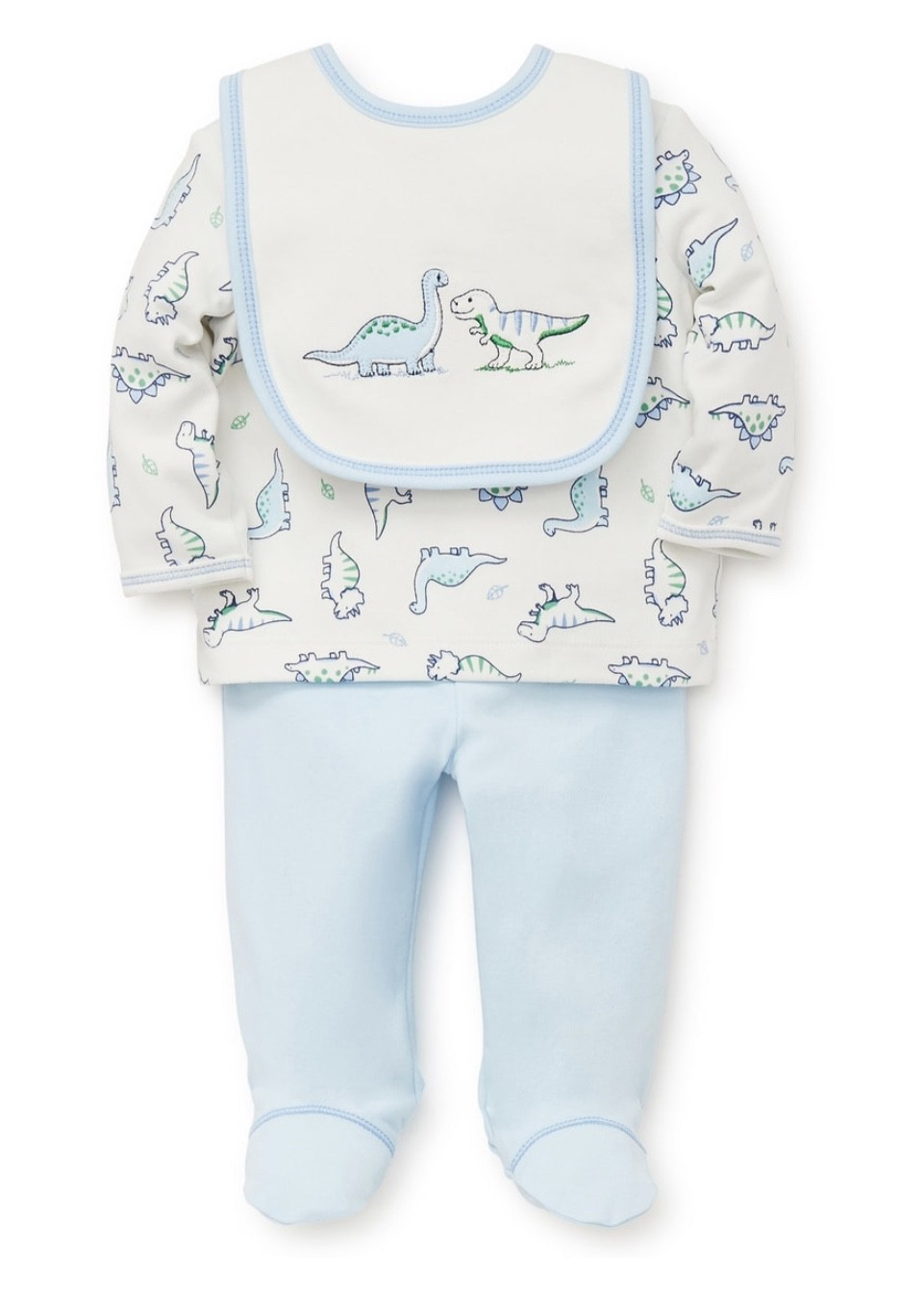 LITTLE ME LAP SHOULDER SET WITH BIB LT BLUE DINOSAURS