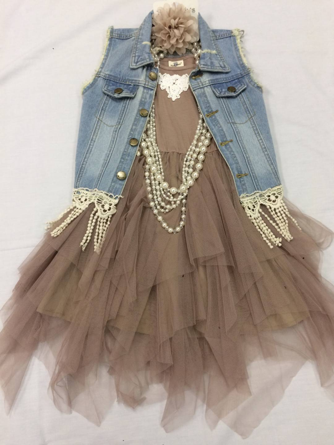 ML KIDS TAUPE DRESS AND JEAN VEST 2-PIECE SET SIZES 5-12