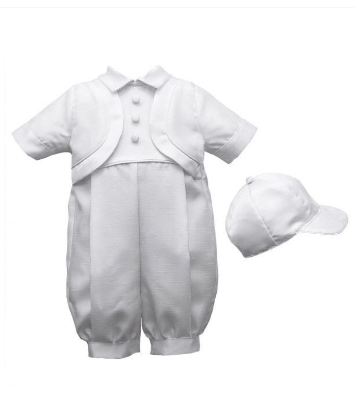 LAUREN MADISON 1 PC CHRISTENING SUIT WITH HAT