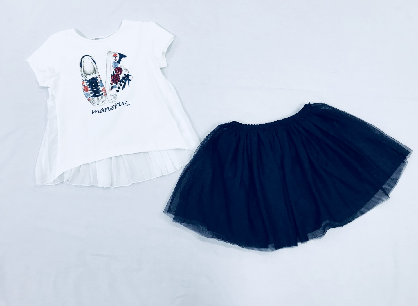 WHITE TOP WITH NAVY SKIRT 2-PIECE SET SIZES 8-14