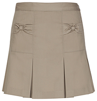 Girls Bow Pocket Khaki Skort