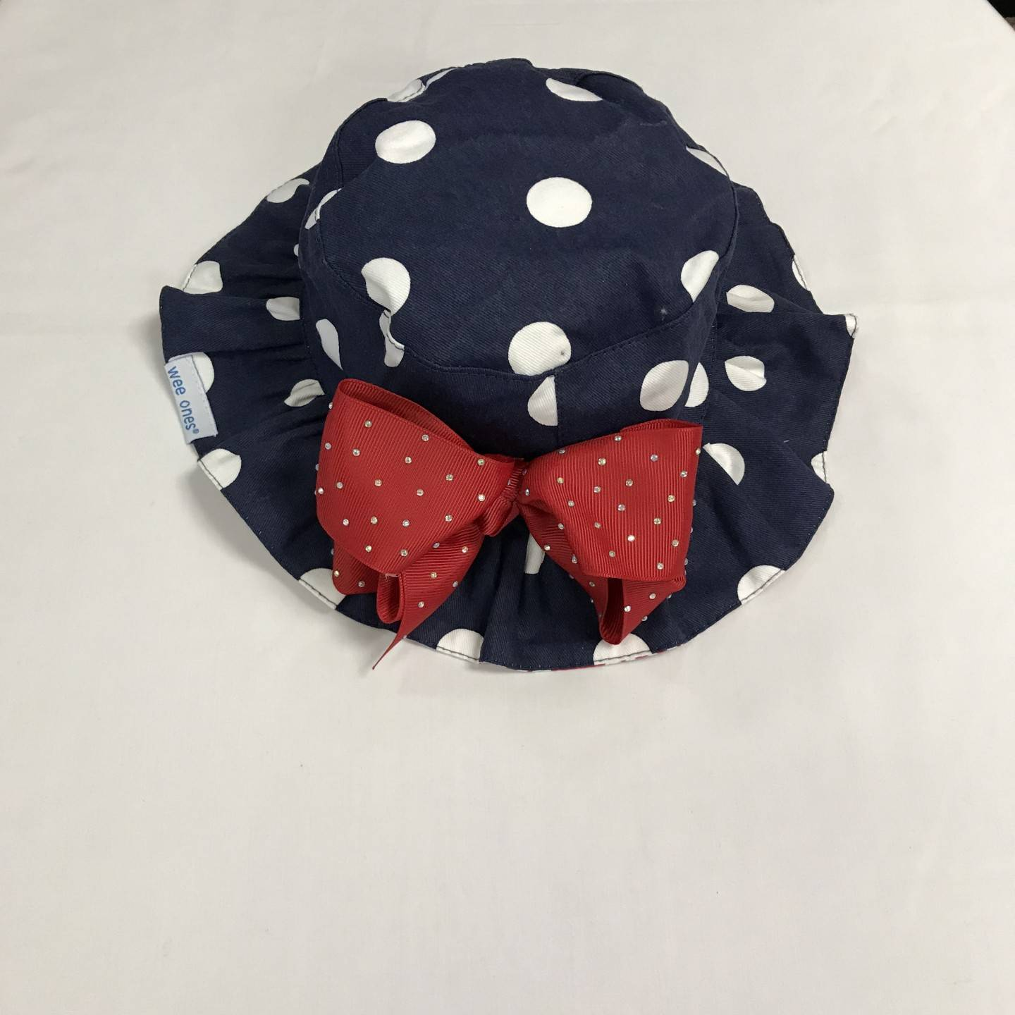 WEE ONES REVERSIBLE NAVY POLKA DOT SUN HAT SIZE 12-18 MONTHS
