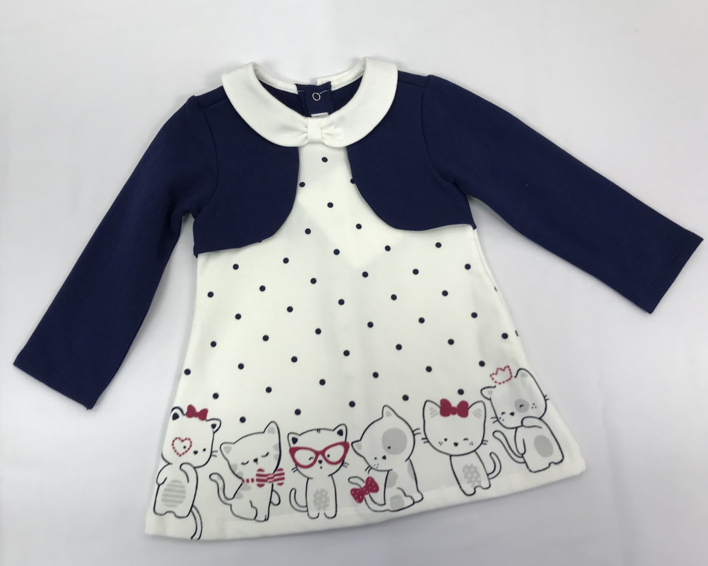 MAYORAL BLUE AND WHITE POLKA DOT KITTY DRESS WITH JACKET