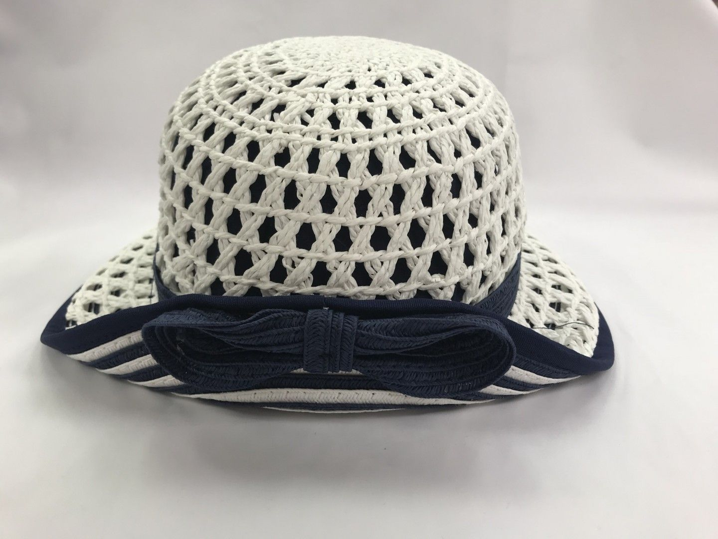 MAYORAL NAVY AND WHITE WOVEN HAT SIZES SMALL-LARGE