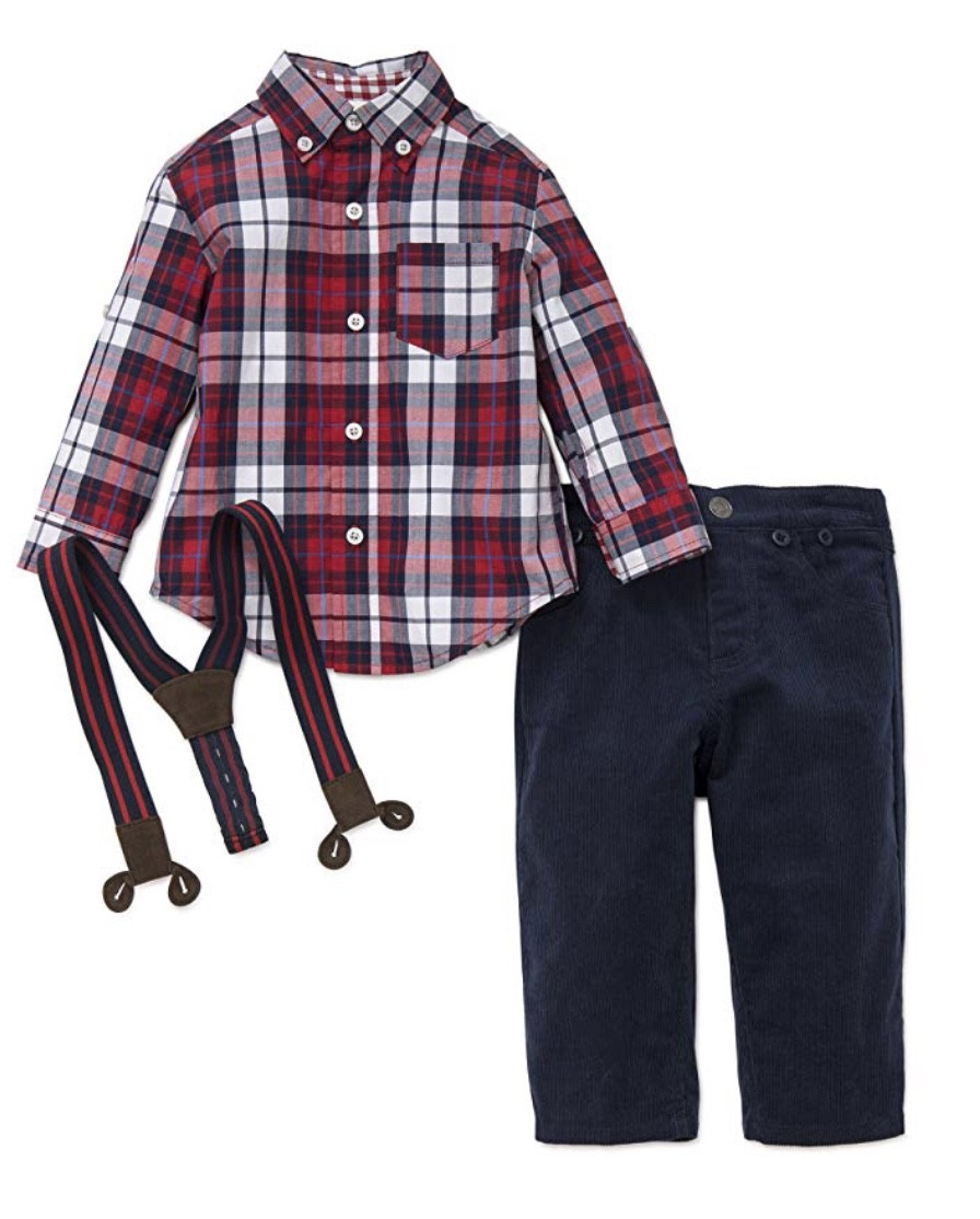 LITTLE ME RED AND NAVY PLAID WOVEN PANT SET WITH SUSPENDERS