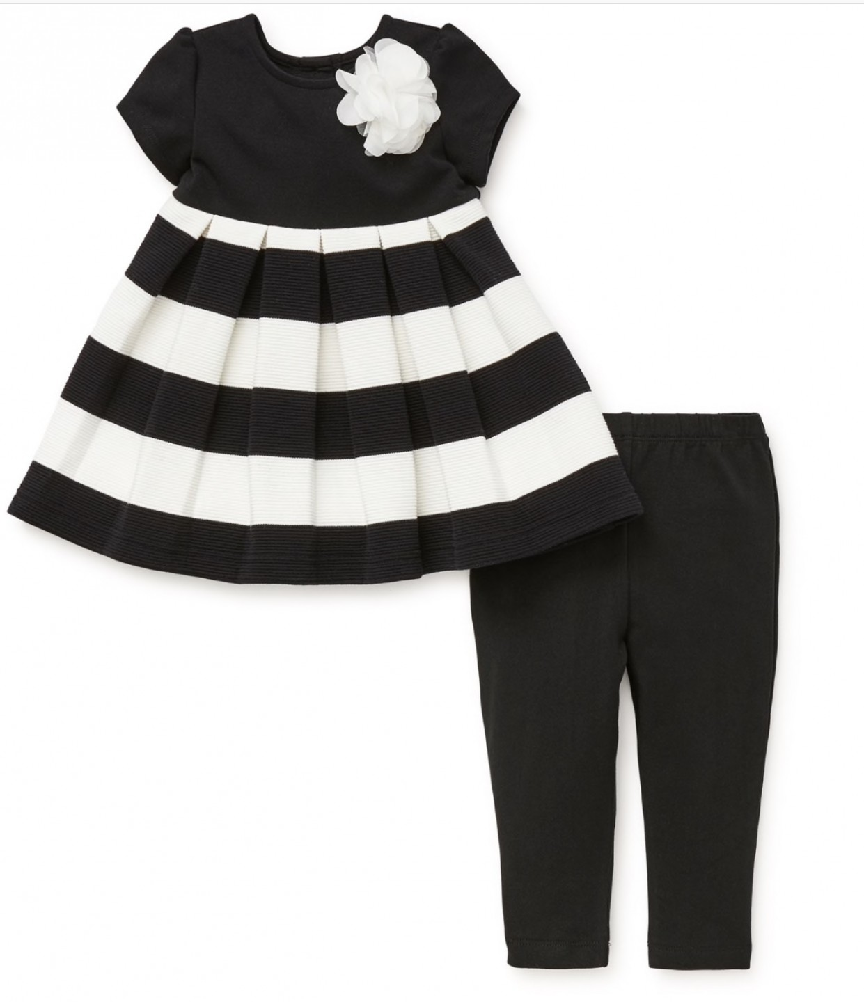 LITTLE ME WHITE/BLACK STRIPED 2 PC DRESS WITH LEGGINGS