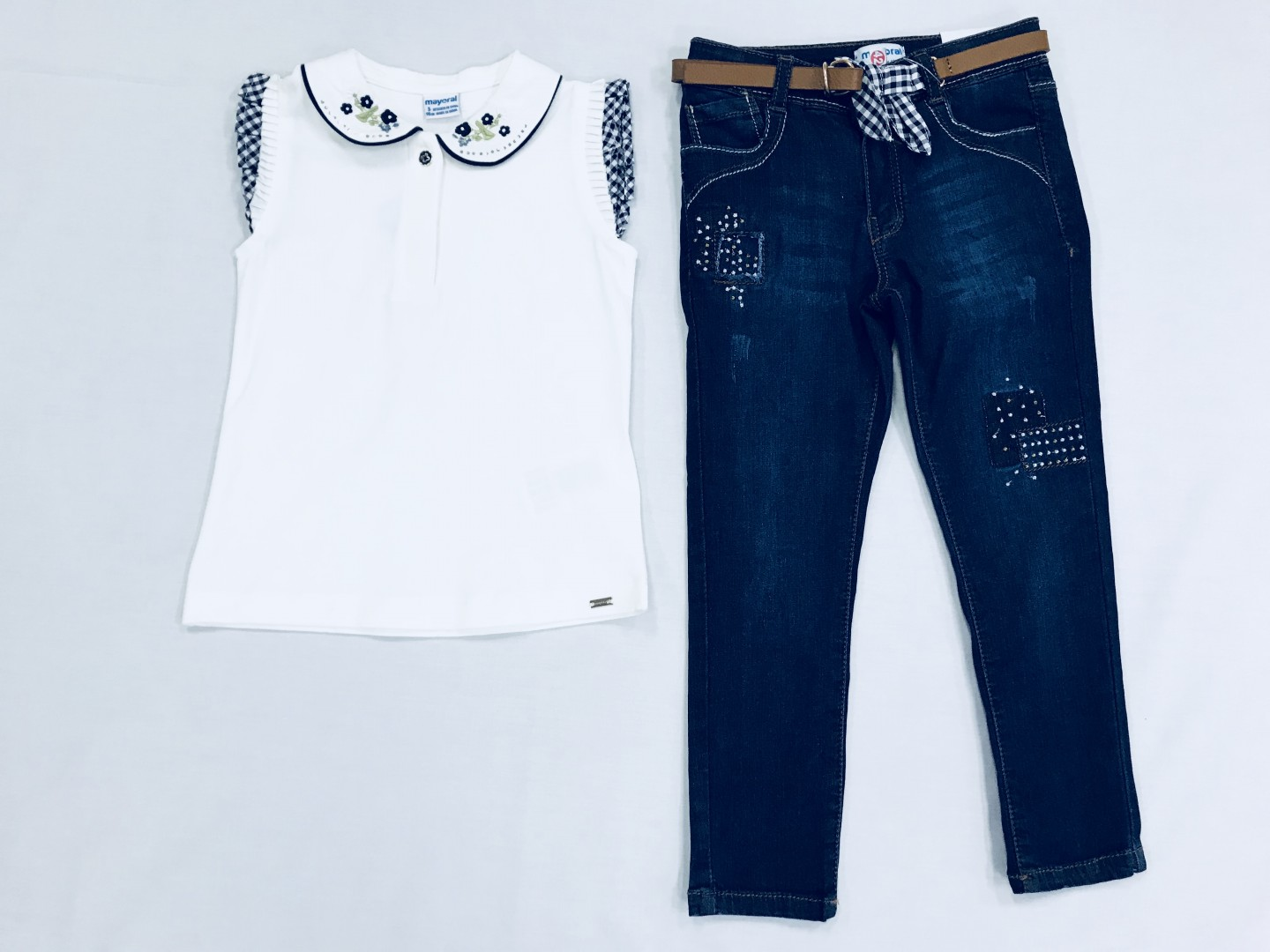 WHITE BLOUSE WITH JEAN PANTS SIZES 2-8