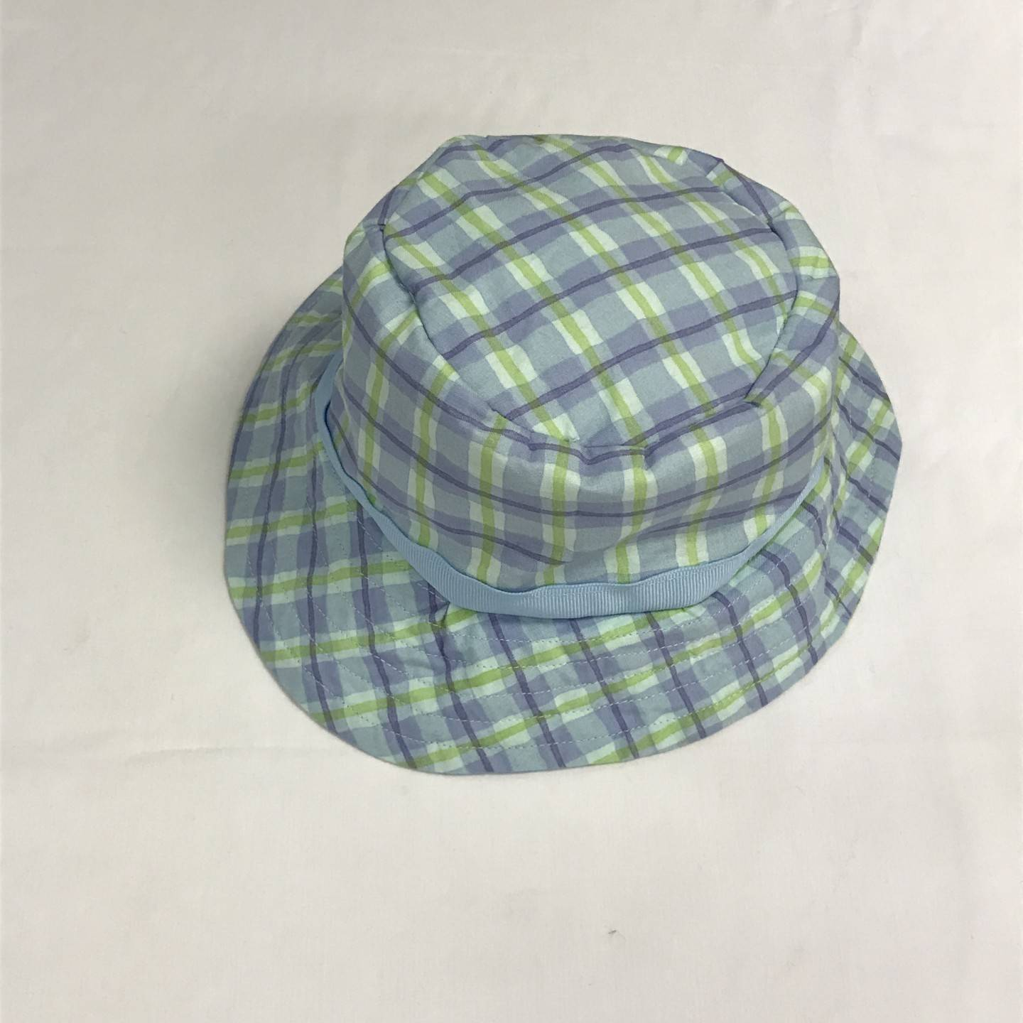 BLUE GREEN PLAID BUCKET HAT