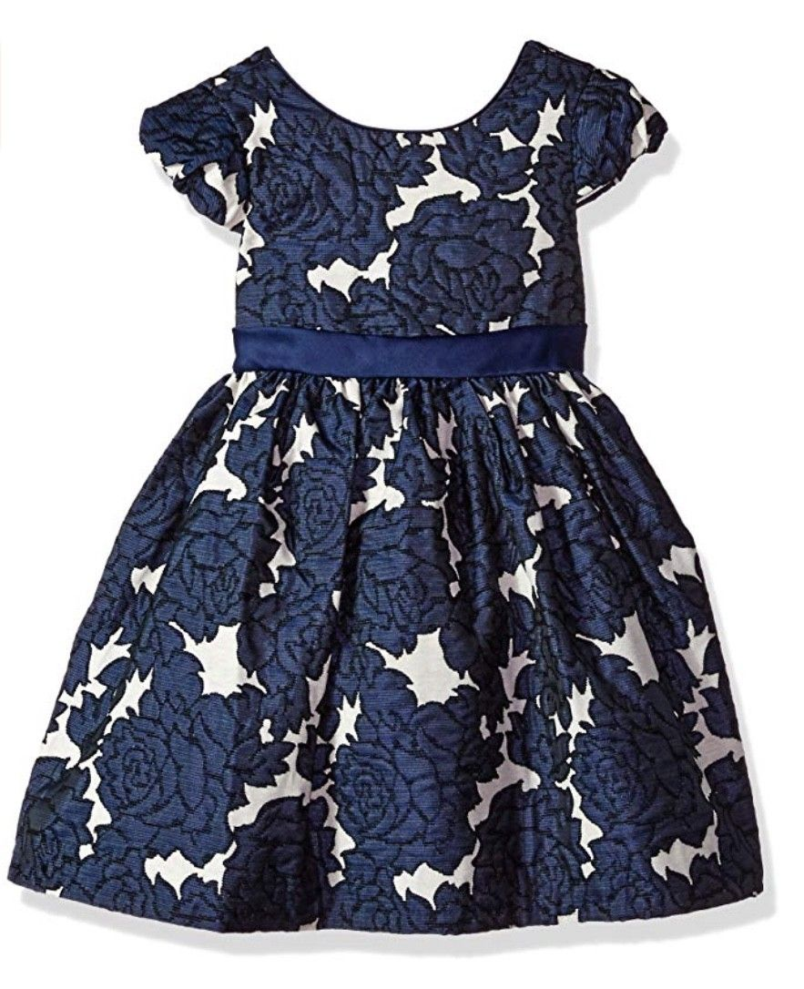 BONNIE JEAN BROCADE NAVY FLORAL DRESS