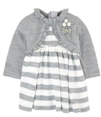 MAYORAL GRAY AND WHITE STRIPED DRESS WITH ATTACHED SHRUG
