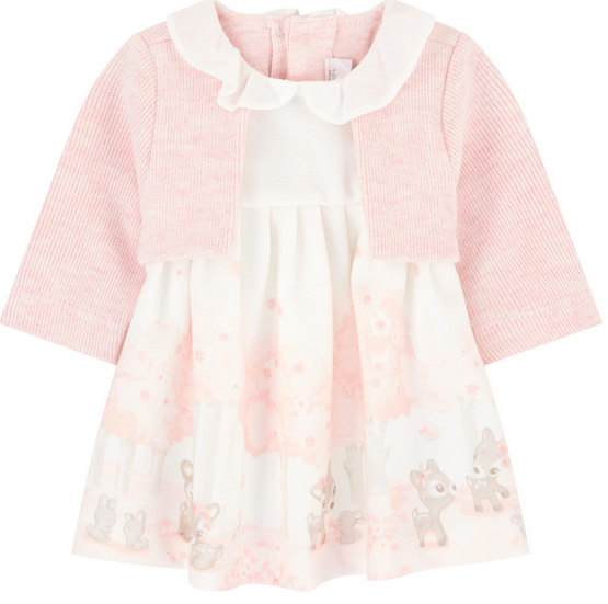 MAYORAL PINK AND WHITE DEER AND BUNNY DRESS WITH PINK CARDIGAN