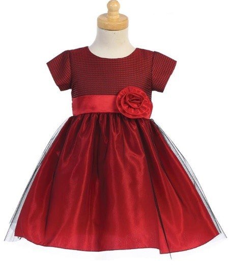 SWEA PEA & LILLI RED JACQUARD BODICE WITH TULLE BOTTOM DRESS