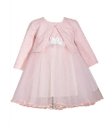 BONNIE JEAN PINK/WHITE TULLE DRESS WITH CARDIGAN