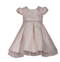 BONNIE JEAN ROSE SPARKLE JACQUARD DRESS WITH JEWEL BELT