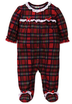 GIRLS  PLAID HOLIDAY FLANNEL SLEEPER WITH RUFFLES