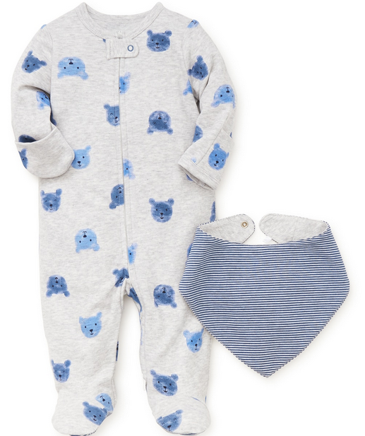 GRAY AND BLUE TEDDY BEAR FOOTIES