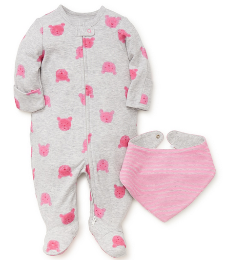 GRAY AND PINK TEDDY BEAR FOOTIES