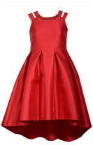RED HI LO DRESS WITH CRYSTAL NECKLINE