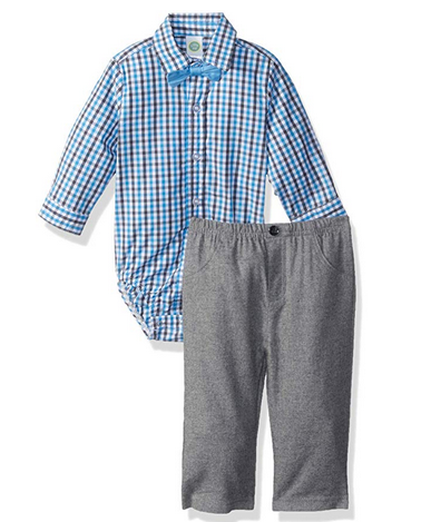 BOYS HEATHER GRAY AND BLUE PLAID WOVEN PANTS SET WITH BOW TIE