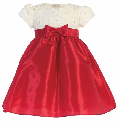 DRESS WITH EMBOSSED TOP WITH TAFFETA BOTTOM