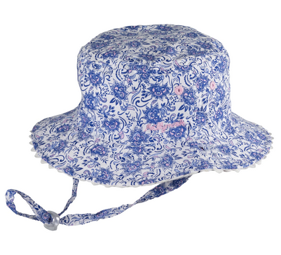 MILLYMOOK AND DOZER BABY GIRLS BLUE REVERSIBLE BUCKET HAT KAYA