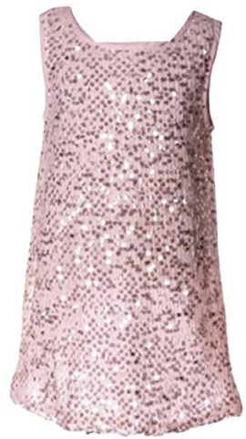 ML KIDS PINK SLEEVELESS SEQUENCE DRESS