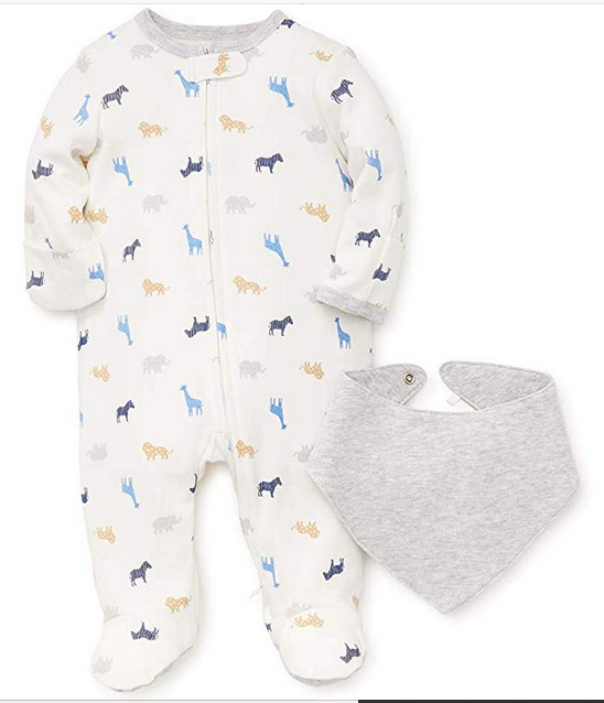 SAFARI ANIMALS SLEEPER WITH BIB