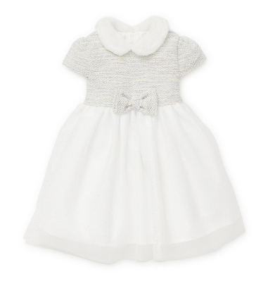 LITTLE ME WHITE AND SILVER SPARKLE SPECIAL OCCASION DRESS