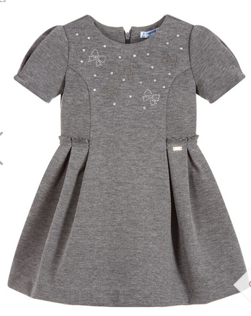 MAYORAL GRAY JERSEY DRESS WITH BOWS
