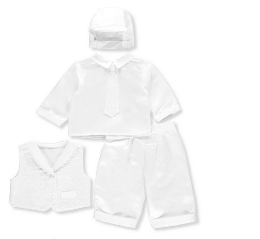 PRECIOUS ANGELS BOY LONG PANTS CHRISTENING SUIT WITH BROCADE VEST AND TIE WITH HAT
