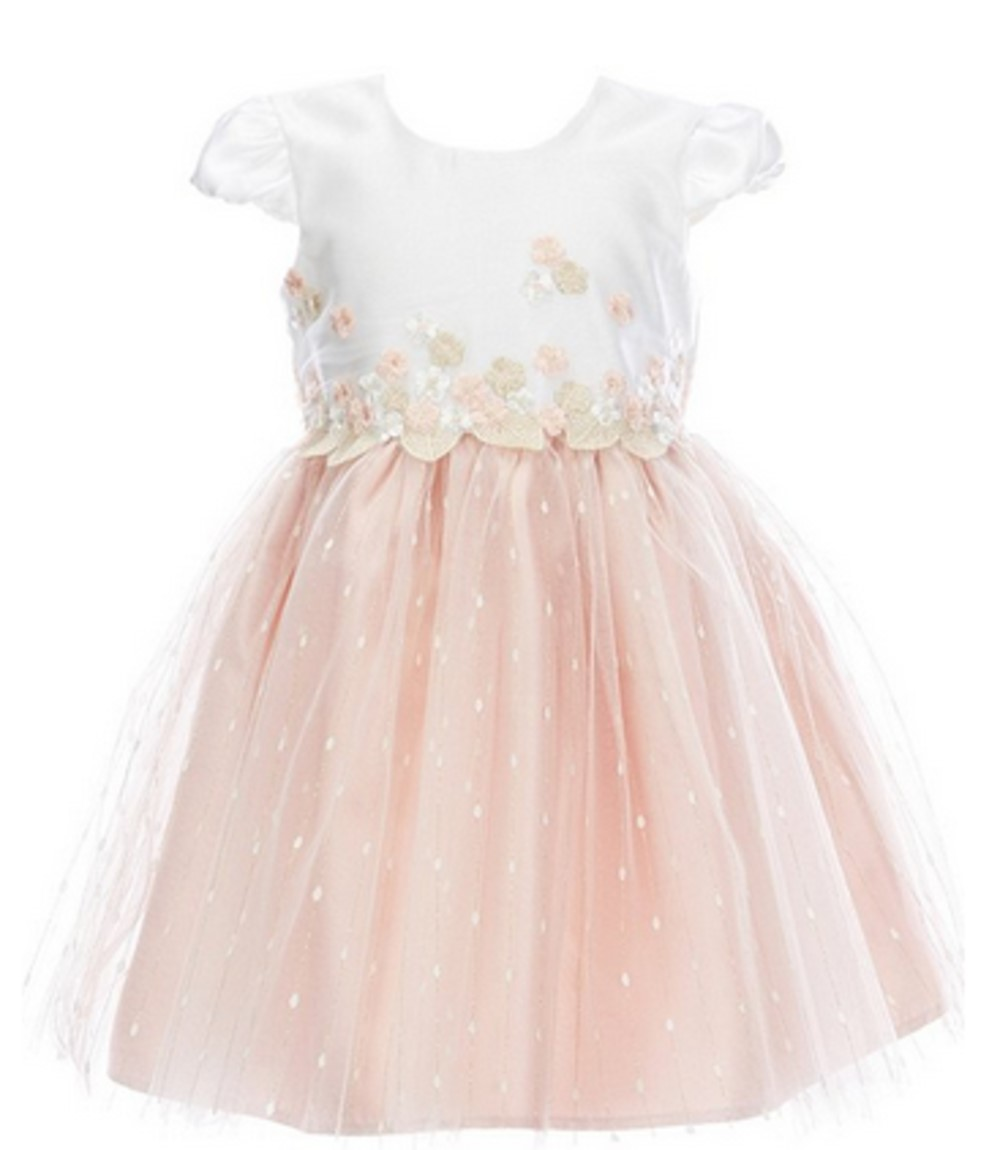 Bonnie Jean girls' blush dress with floral appliques and mesh overlay