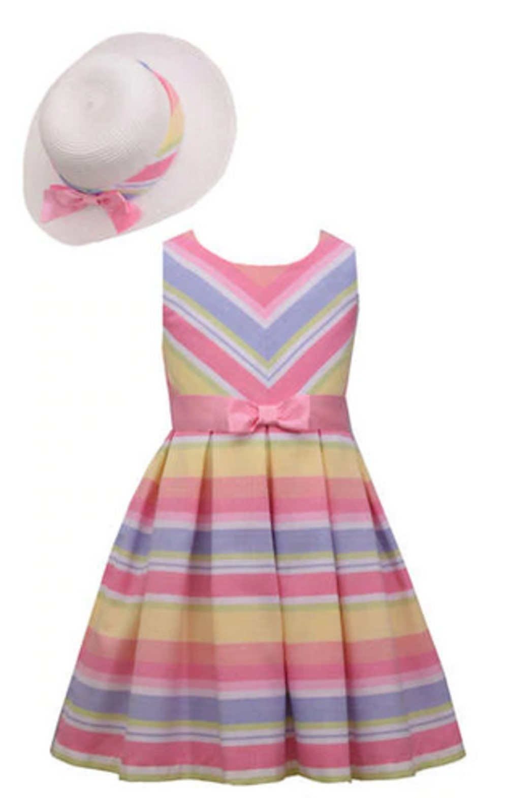 BONNIE JEAN MULTI-COLORED STRIPE LINEN DRESS WITH HAT