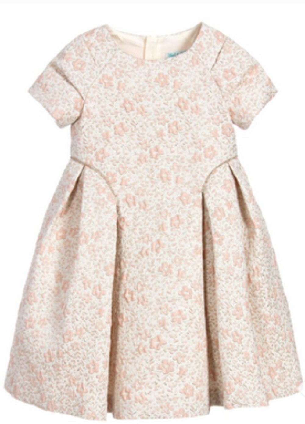 Abel & Lula pink and gold floral jacquard dress