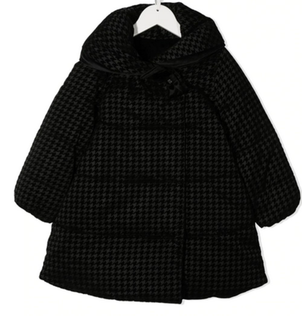 Abel & Lula black checked padded coat