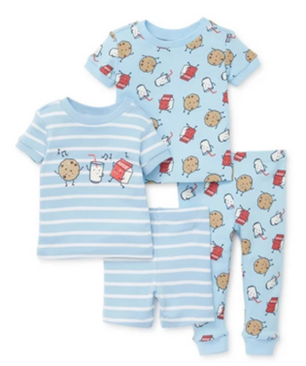 LITTLE ME 4 PIECE MILK AND COOKIES PAJAMA SET NOT FLAME RESISTANT