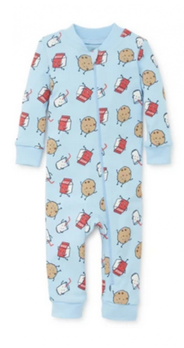 LITTLE ME MILK AND COOKIES ONE PIECE PAJAMA SLEEPER NOT FLAME RESISTANT
